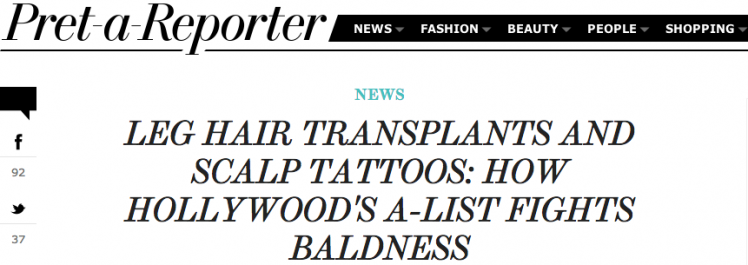 The Hollywood Reporter: How Hollywood's A-List Fights Baldness
