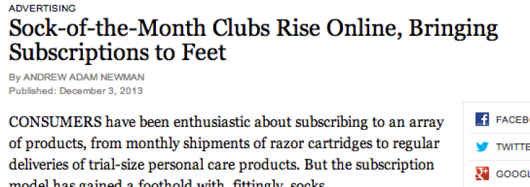 New York Times: Sock-of-the-Month Clubs Rise Online, Bringing Subscriptions to Feet