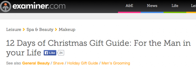 Examiner: 12 Days of Christmas Gift Guide: For the Man in your Life